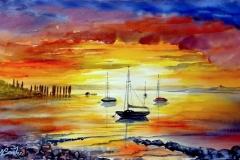 08-Boote im Feuerhimmel