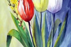 18-Tulpen in Glasvase