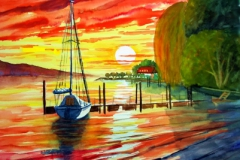 Sunset-in-Maurach-Aquarell