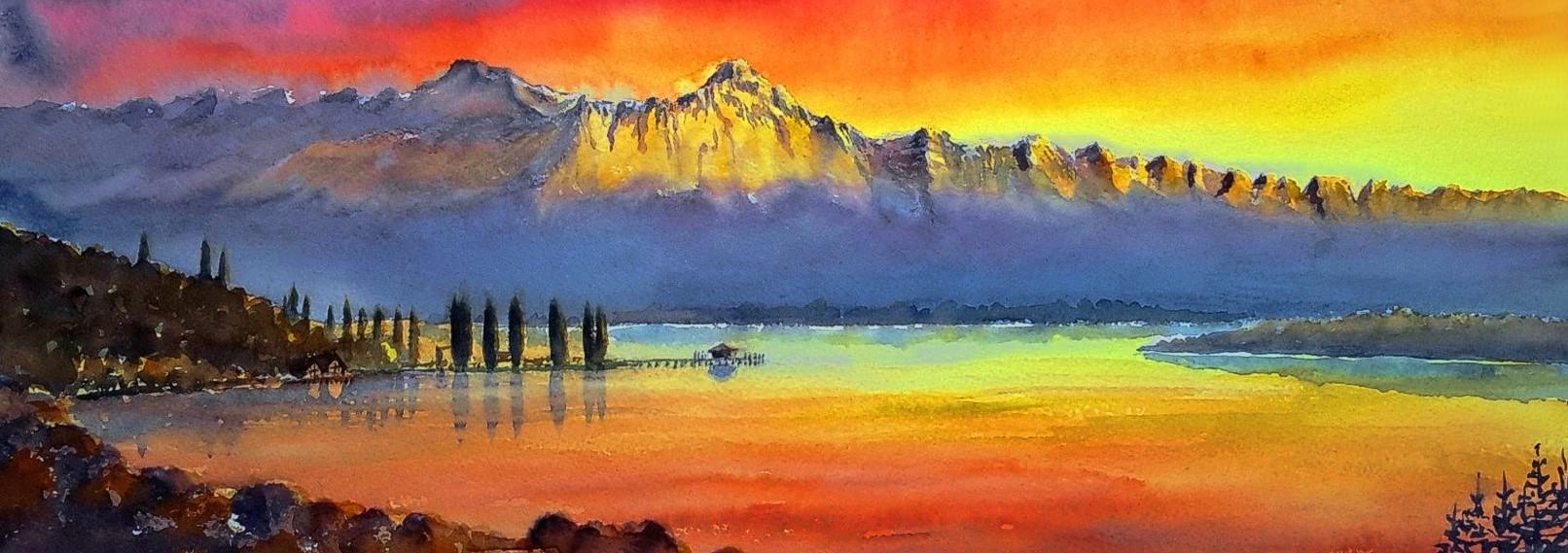 01-Bodensee im Feuerhimmel mit Säntis