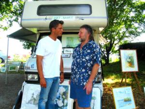 Schauspieler Hardy Krüger jr. beim Birnaumaler Norbert Sand